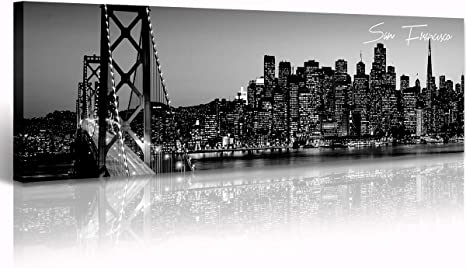 Black And White Panoramic San Francisco Cityscape Picture Wall Decor Stretched Canvas Art Prints For Bedroom Or Office Framed And Ready To Hang 13 8 X 47 3 San Francisco 2 Posters