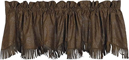HiEnd Accents Faux Tooled Leather Western Valance, 4 2 x 5 – VL1004
