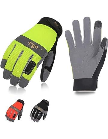 Vgo 3Pares Guantes de Trabajo de Cuero Sintético (Color Negro, Verde y Naranja Fluorescente