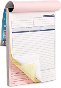 Blue Summit Supplies Contractors Invoice Book, 3 Part Carbonless Forms with White, Yellow, and Pink Copies, Work Order Receipt Book with Blank Invoice Sheets, 8-3/8 x 11-5/8 inch, 50 Pack