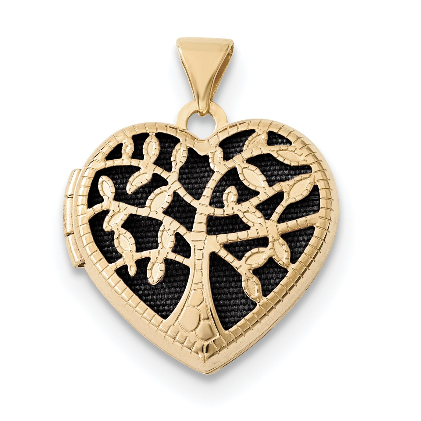 ICE CARATS 14k Yellow Gold 18mm Heart Tree Photo Pendant Charm Locket Chain Necklace That Holds Pictures Fine Jewelry Gift Set For Women Heart