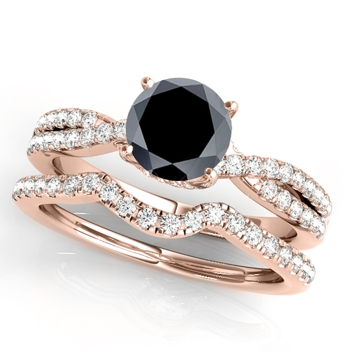 1.35 Ct. Ttw Halo Black Diamond Bridal Set In 14k Rose Gold