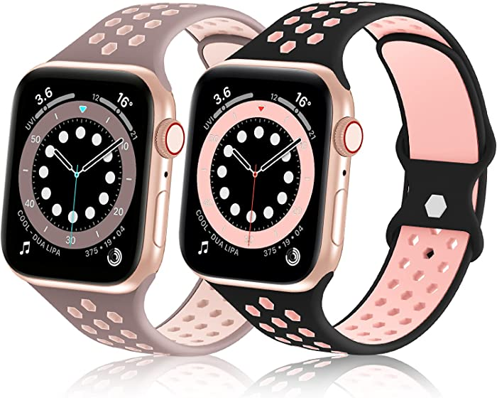 Bagoplus 2 Pack Sport Bands Compatible with Apple Watch 38mm 40mm 42mm 44mm, Soft Silicone Double Color Air Holes Design Replacement Straps Compatible for iWatch Series SE 6/5/4/3/2/1 Women and Men