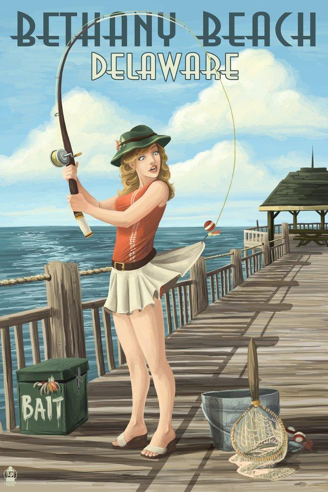 Bethany Beach、デラウェア州 – Pinup Girl釣り 36 x 54 Giclee Print LANT-55055-36x54 36 x 54 Giclee Print  B017E9XKQK