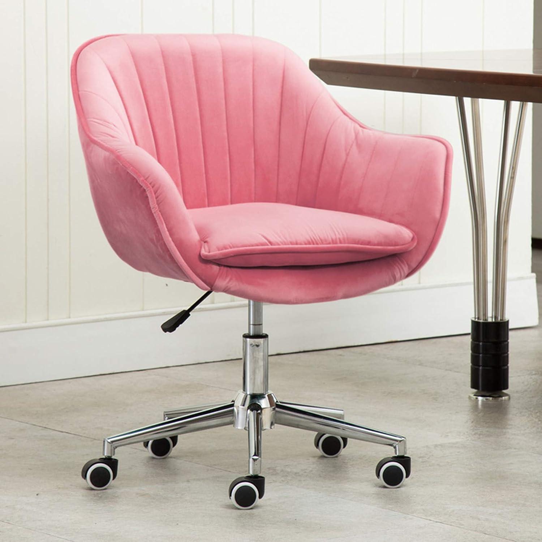 Svängbar stol, mitten av ryggen kontorsstol med sammetskudde, ergonomisk skrivbordsstol med ländrygg stöd för hemmakontor vardagsrum Rosa