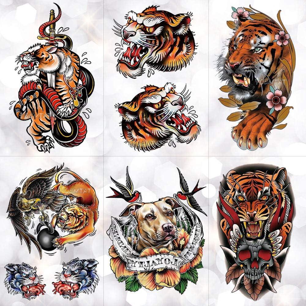 Circo Old School Tiger Snake Fox Tatuajes Temporales A Prueba De ...