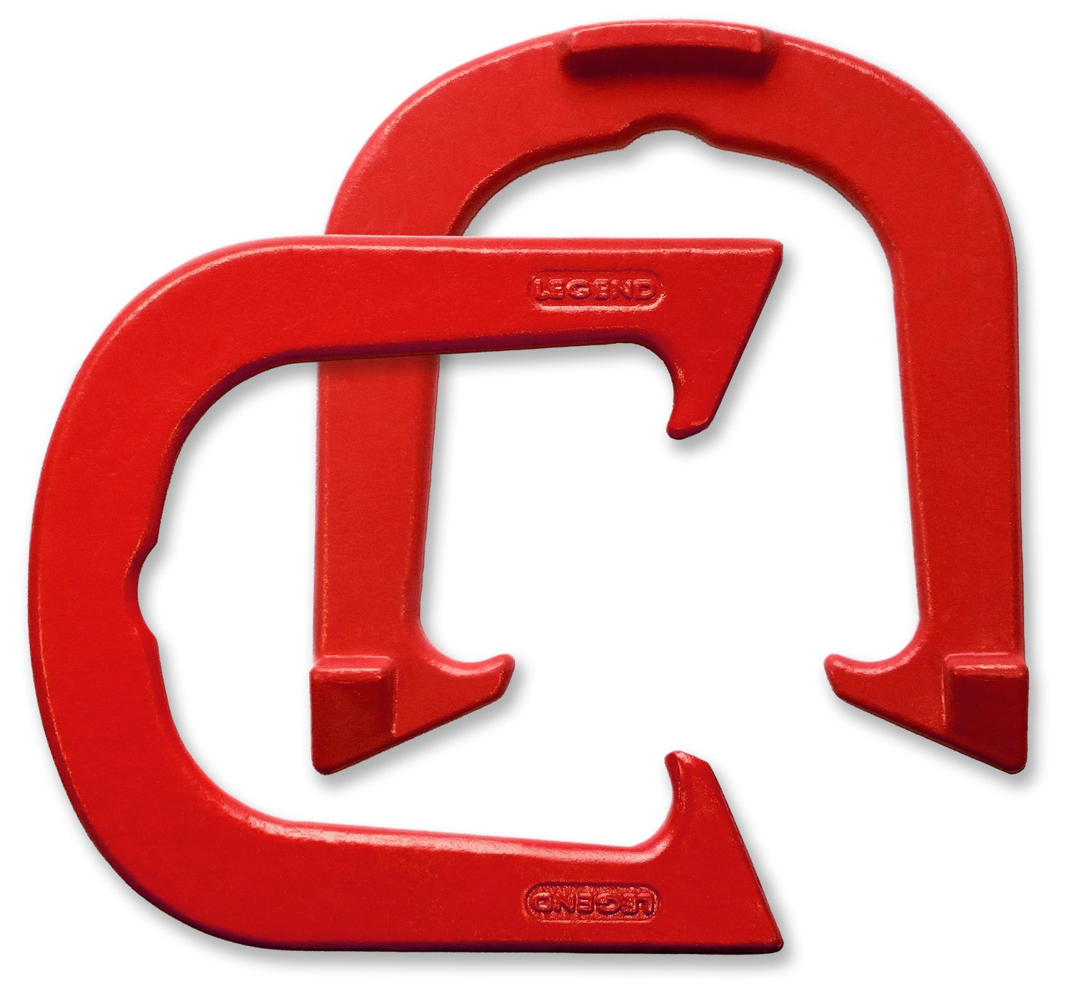 Legend Professional Pitching Horseshoes - Red Finish - NHPA Sanctioned for Tournament Play - Drop Forged Construction - One Pair (2 Shoes) - Medium Weight by Legend Horseshoes