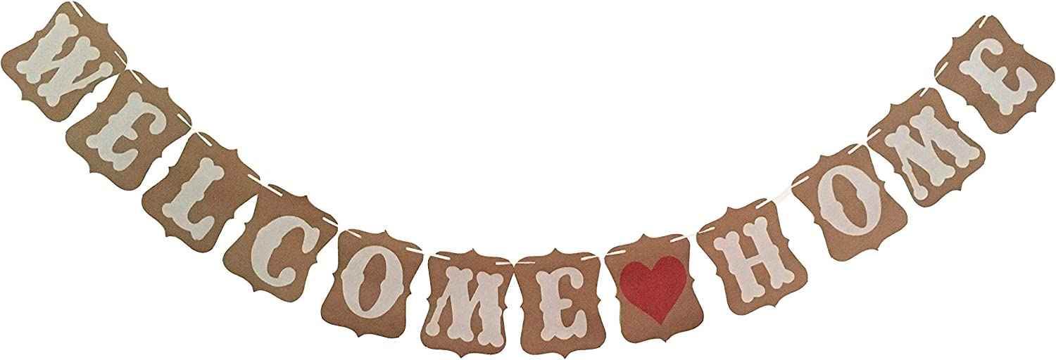 Elfun(TM) Vintage WELCOME HOME Banner for Home Decoration Family Party Supplies Photo Booth Props