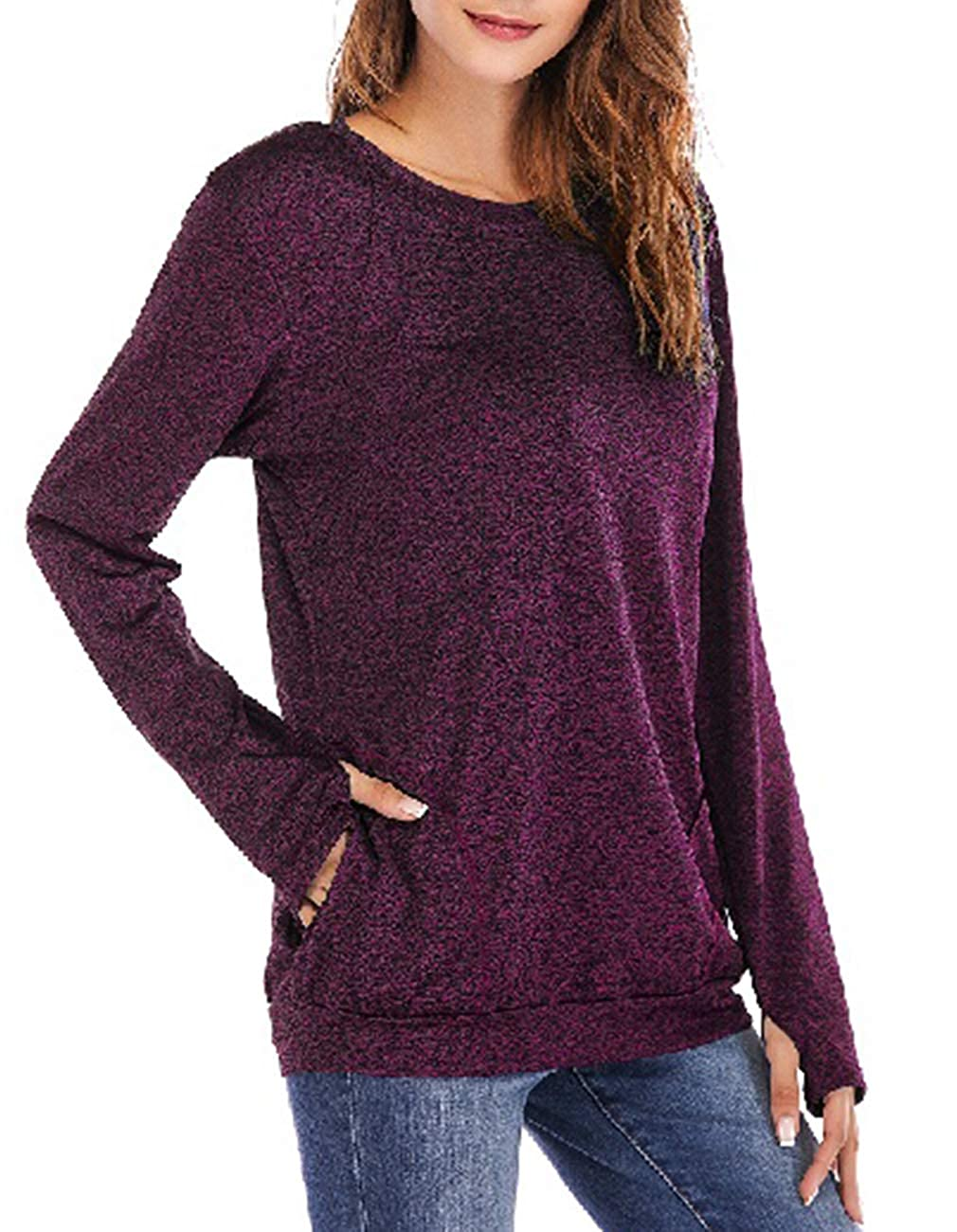 pink Red Defal Womens Long Sleeve Round Neck QuickDry Top TShirts Loose Gym Sports with Thumb Holes Pockets Comfortable Tunic Blouse