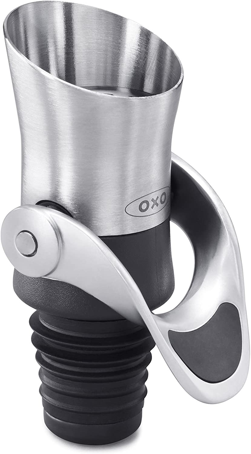 OXO 11136400 SteeL Wine Stopper and Pourer, Stainless Steel
