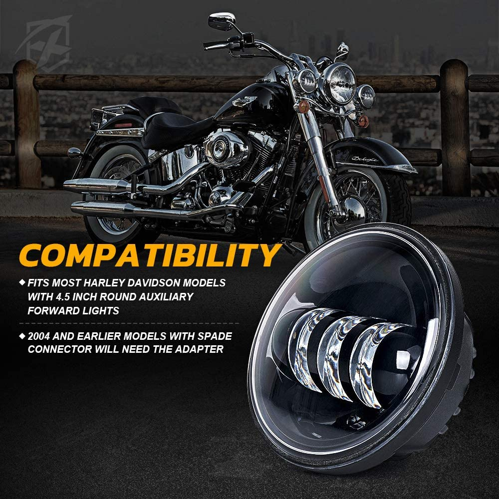 Chrome Xprite 4.5 4-1//2 LED Fog Light Passing Projector CREE Spot Lamp for Motorcycles Compatible with Harley Davidson 4.5 inch round Spot Lights