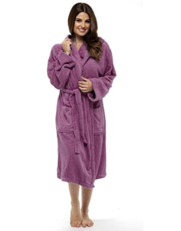 Ladies Robe Luxury Terry Towelling Cotton Dressing Gown Bathrobe Highly  Absorbent Women Hooded and Shawl Towel a4683e7a5