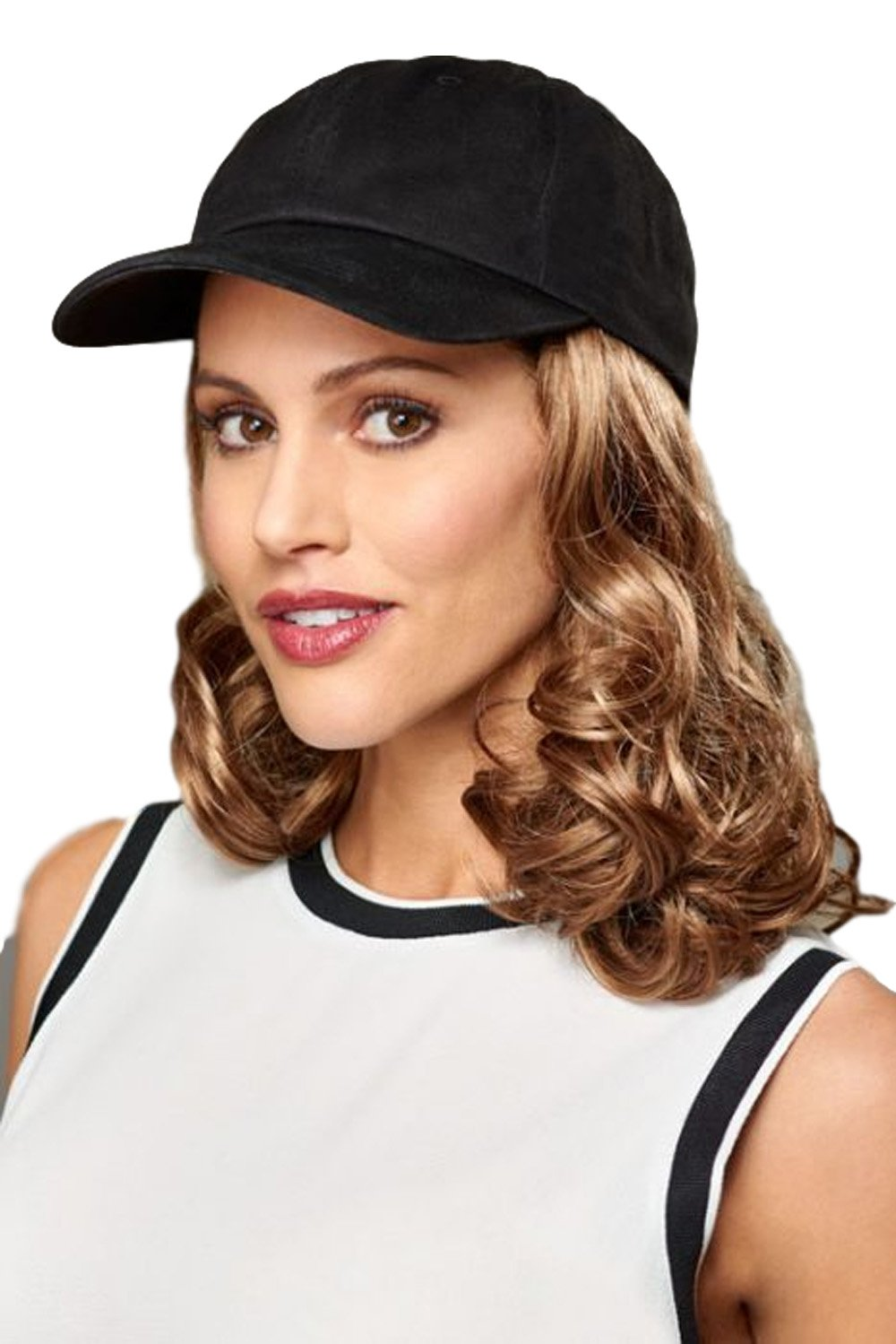 95eb2e6c58a Amazon.com   Henry Margu Hair Accents Curly Black Baseball Cap Wig (1BH -  OFF BLACK   MEDIUM DARK BROWN HIGHLIGHTS)   Beauty