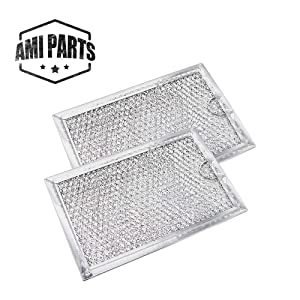WB06X10309 Filter Microwave oven Grease Filter [ Packed In Box] Compatible with GE Stove Replacement Parts by AMI - 7-5/8 x 5 x 3/32 Inch 2 Packs