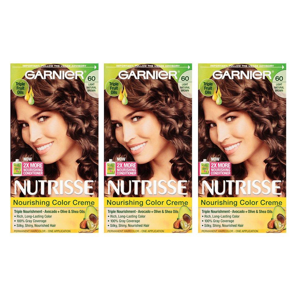 Garnier Nutrisse Nourishing Hair Color Creme, 60 Light Natural Brown (Acorn), 3 Count