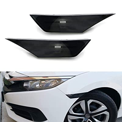 iJDMTOY JDM Black Smoked Lens Front Side Marker Lamp Housings Compatible With 2016-up Honda Civic Sedan Coupe Hatchback 10th Gen, OE-Spec LH RH Assembly: Automotive