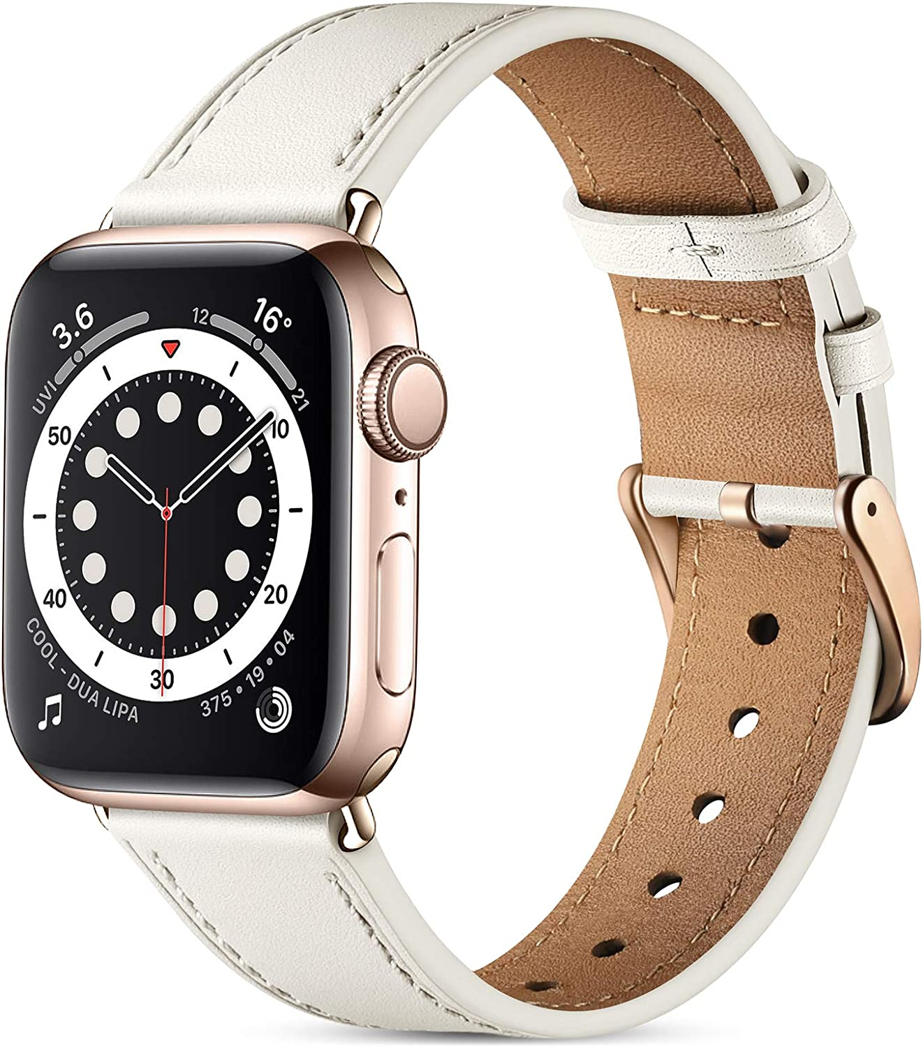 Easuny Leather Band Compatible with Apple Watch Bands SE 40mm 38mm iWatch Series 6 5 4 3 2 1, Classical Soft Genuine Leather Strap Wristband Replacement Accessories for Women Men,Ivy White
