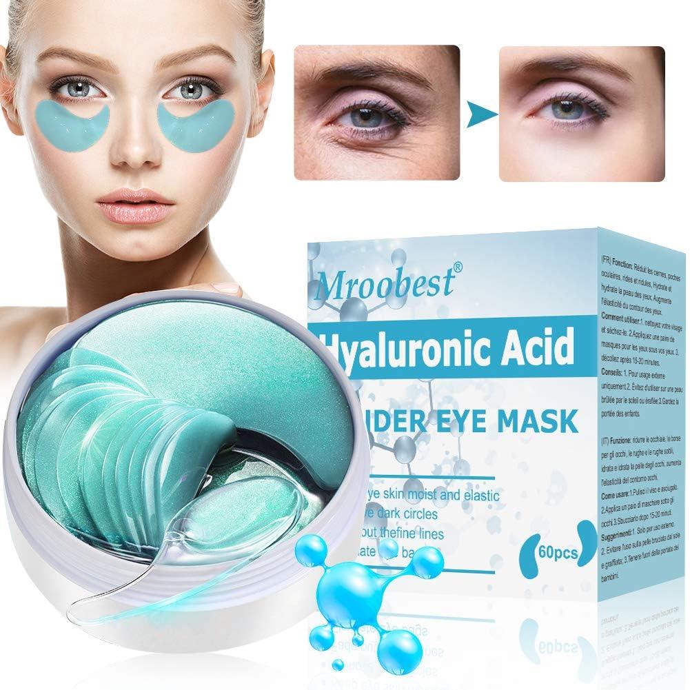 Mascara Para Los Ojos, Ojos Parches, Eye Mask, Máscara Para Ojos De Colágeno, Con ácido Hialurónico, Reduce las bolsas bajo los ojo, ojeras, patas de gallo e hinchazón - 60 Piezas