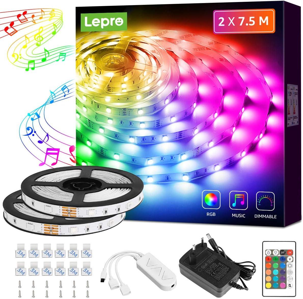Lepro 15M tiras de luces RGB con música, tira LED Regulable 5050 SMD, 12V 24 teclas Cinta LED autoadhesivas, Strip Tiras Para TV, Fiestas, Dormitorio, fuente de alimentación y controlador incluidos