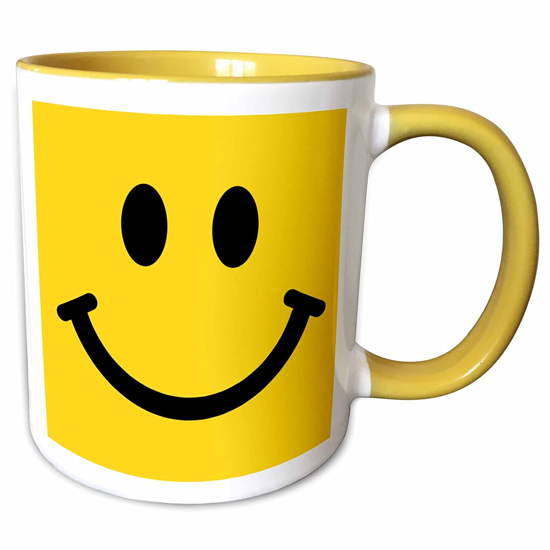 3dRose 113090/_8 Yellow Smiley Face Happy Smiling Cartoon 60S Jolly Cheerful Bright Mug 11 oz