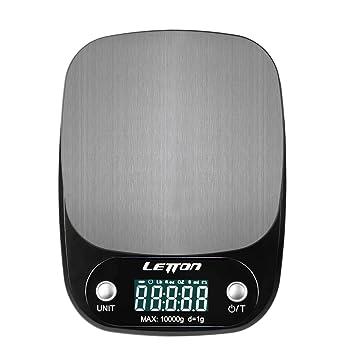Letton Báscula de Cocina, Bascula Digital 10 kg/1g, Función de Tara, Pantalla LCD Grande, Balanza de Cocina para Cocinar y Hornear - Negro (Baterias ...