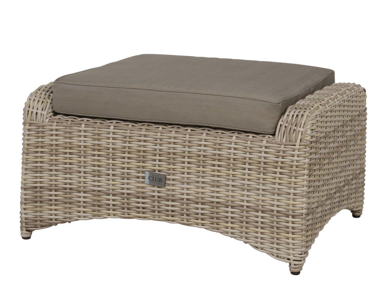 lifestyle4living Hocker aus Polyrattan in beige mit Sitzkissen für Terrasse oder Garten. Variabel einsetzbar als Fußbank, Beistellhocker durch Auflagekissen.
