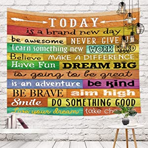 Funny Motivational Quotes Tapestry Wall Hanging Wall Art, Inspirational Words Print on Colorful Rustic Wooden Plank Board Tapestry, Tapestries for Living Room Bedroom Dorm, Bedding Tapestry, 71X60in