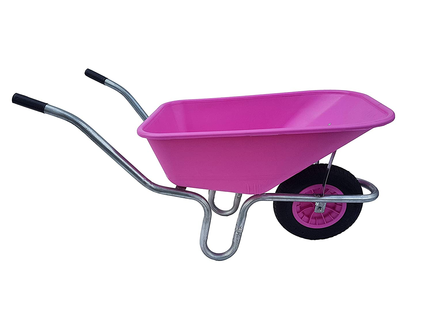 110 Litre Large PINK Plastic Wheelbarrow With Puncture Proof Foam Filled Wheel Ketoplastics