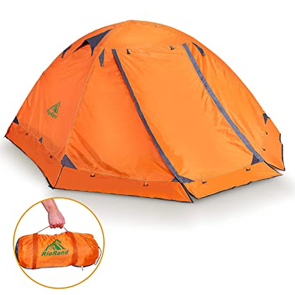 9c79d4940 RioRand Double Layer 2 Person 4 Season Aluminum Rod Outdoor Camping Tent  Topwind 2 Plus with Snow Skirt