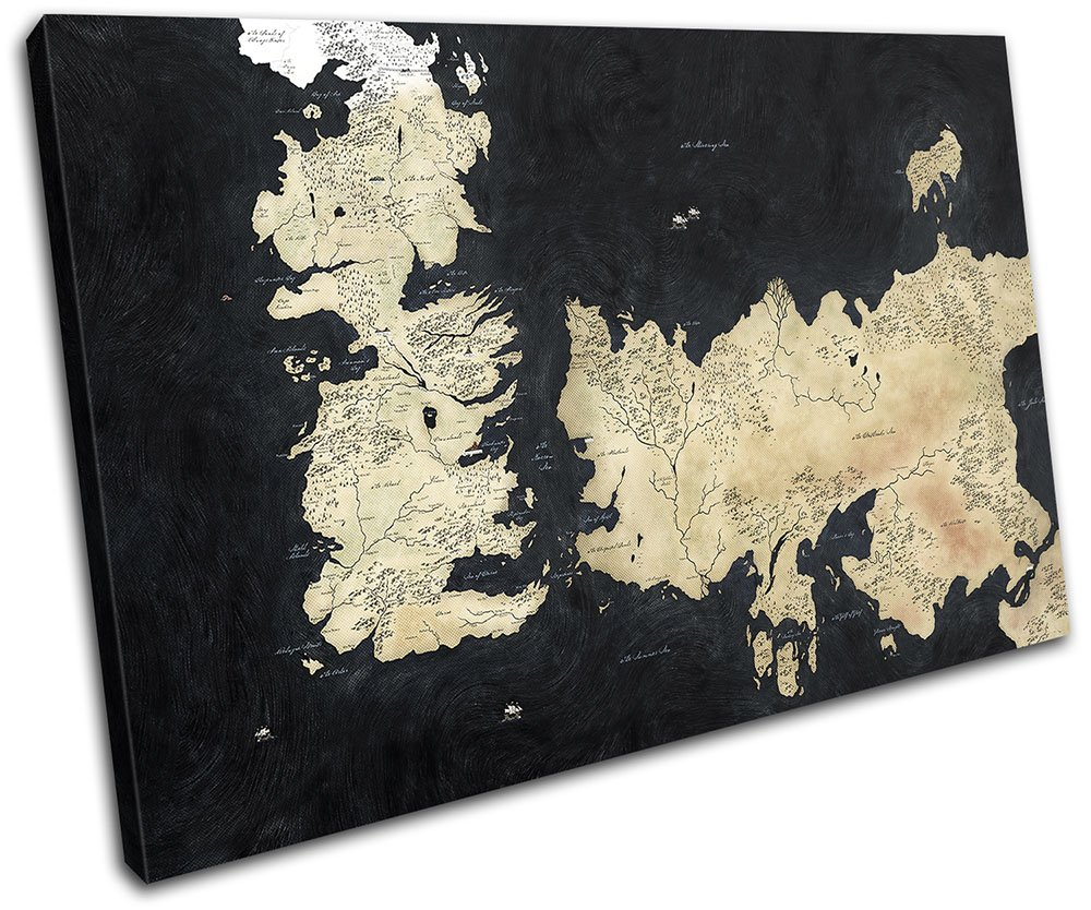 Bold Bloc Design - Map Game of Thrones Movie Greats 120x80cm SINGLE Canvas Art Print Box Framed Picture Wall Hanging - Hand Made In The UK - Framed And Ready To Hang