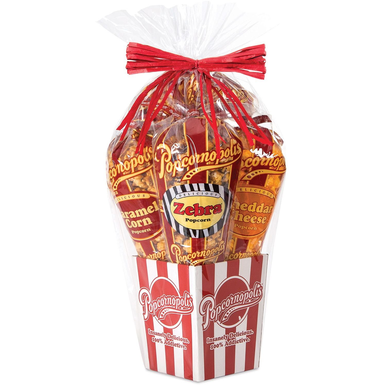 Amazon.com : Popcornopolis 4 Cone Gourmet Popcorn Gift Basket 30oz : Grocery & Gourmet Food