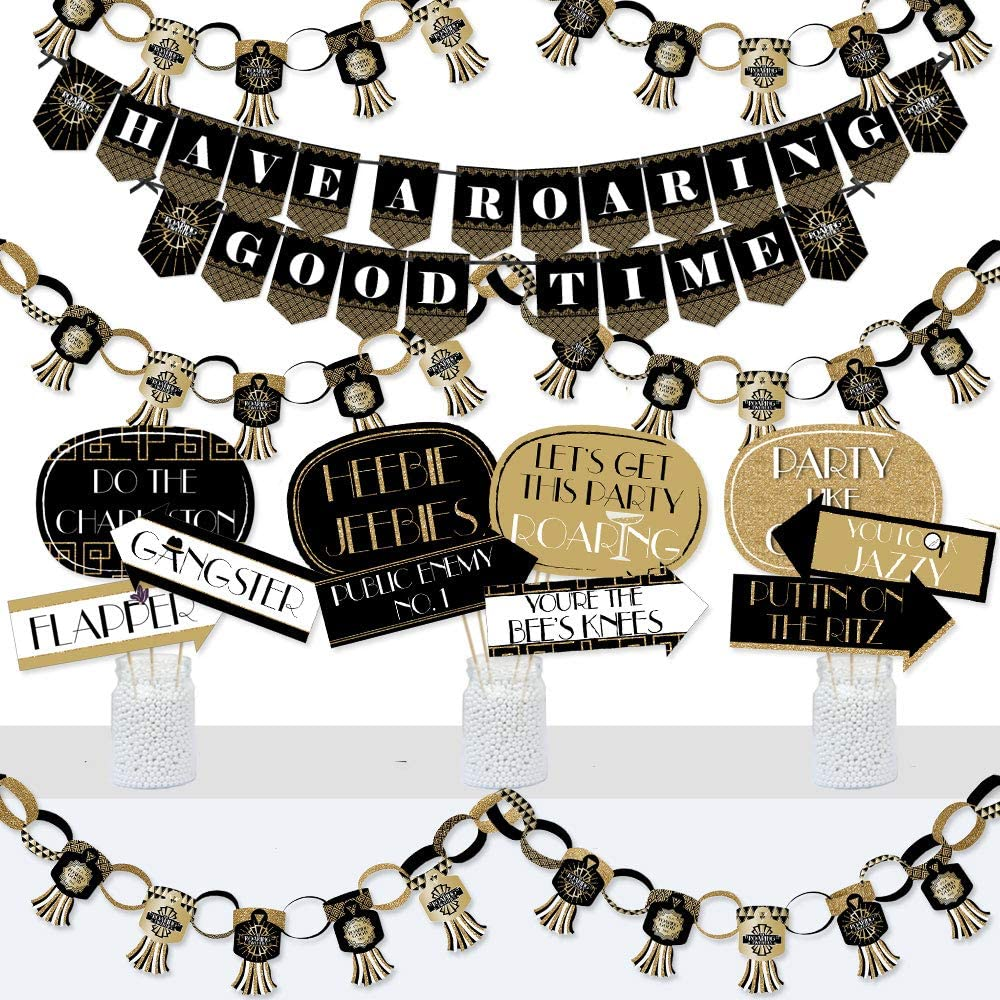 Big Dot of Happiness Roaring 20's - Banner and Photo Booth Decorations - 1920s Art Deco Jazz Party Supplies Kit - Doterrific Bundle