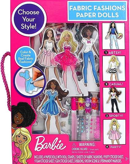 Amazon Com Barbie Fabric Fashion Paper Dolls Toys Games