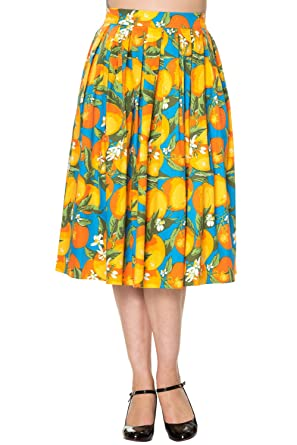 Banned - Falda - plisado - Floral - para mujer naranja naranja ...