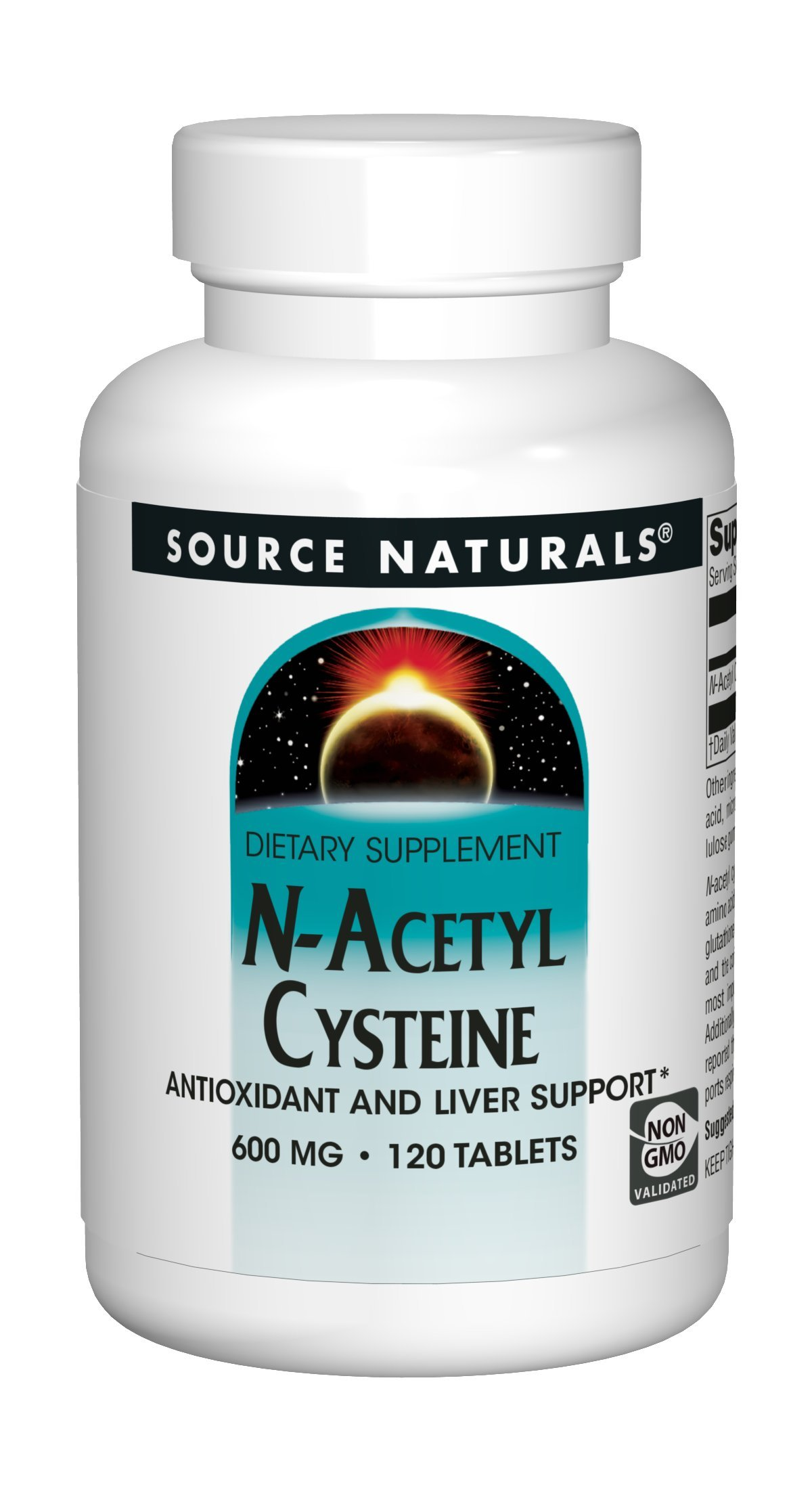 Source Naturals N-Acetyl Cysteine 600mg Powerful Antioxidant Protection - Pure Enzymes - 120 Tablets