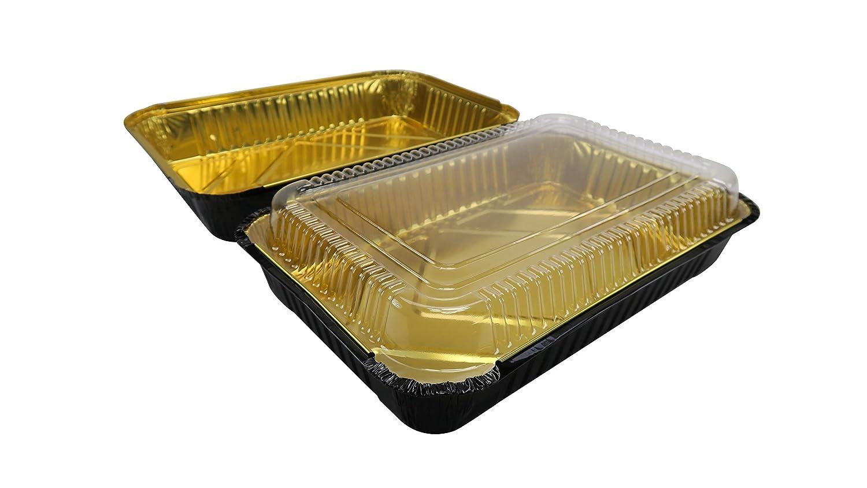 KitchenDance Disposable Colored Aluminum 4 Pound Oblong Pans with Plastic Dome Lid 52180P Black /& Gold, 25