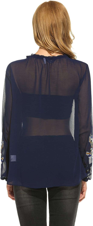 Zeagoo Women/'s Floral Long Bell Sleeve T Shirt Lace Irregular Hem Blouse Tunic Tops