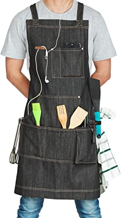 Fjackets Aprons for Men & Women, Adjustable Denim Apron with Multiple Pockets, Ideal for BBQ Accessories - Work Aprons