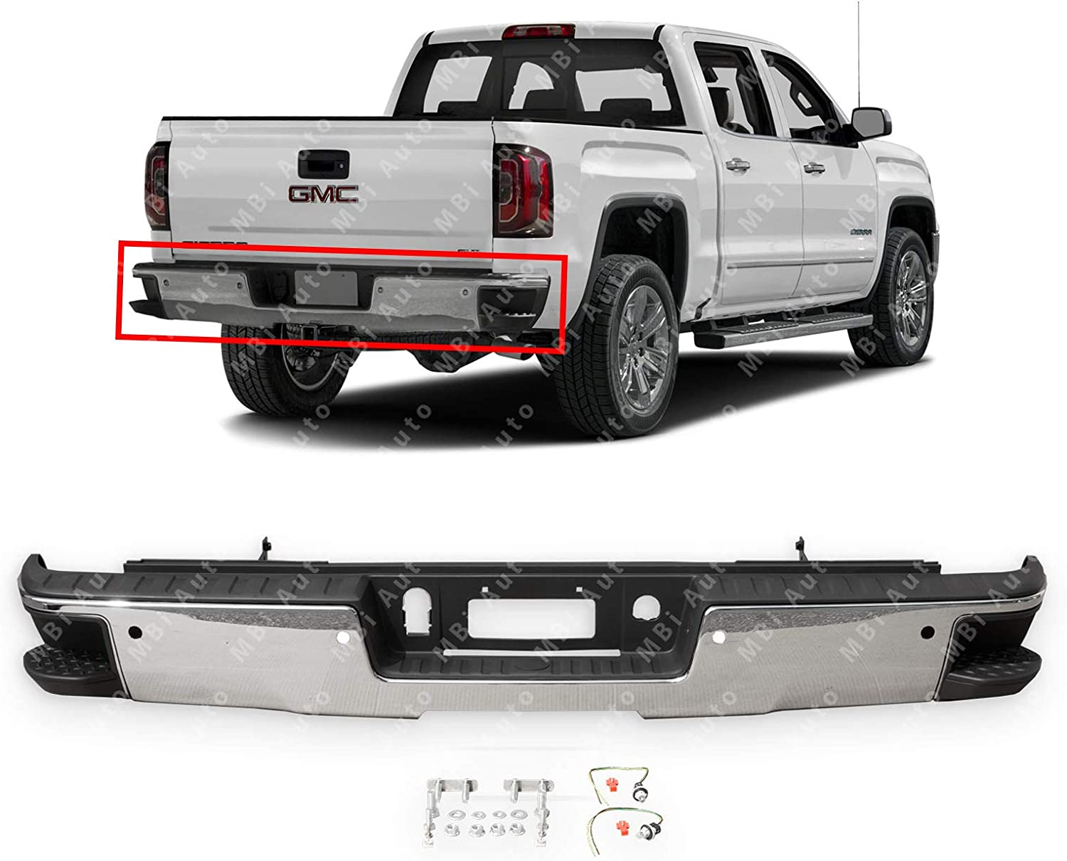 ROADFAR Chrome Rear Bumper with Corner Step Fits for Chevrolet Silverado 1500 2014-2018,GMC Sierra 1500 2014-2018 Rear Step Bumper Assembly Without Sensor Holes