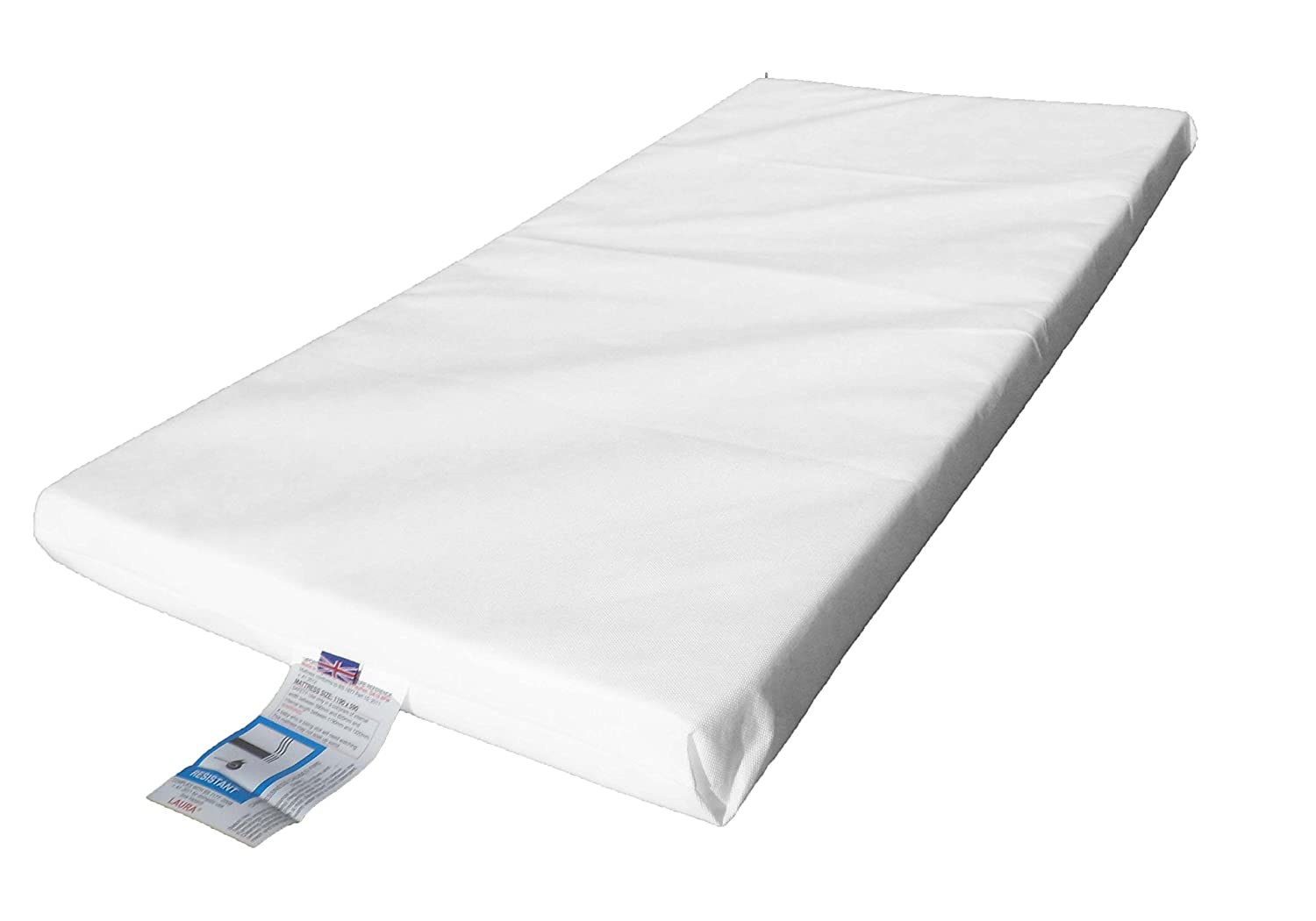 LAURA/® Deluxe Hypo-Allergenic Eco Air Flow Quilted Dual Sided Travel Cot Mattress 95 x 65cm x 7cm Extra Thick British Made