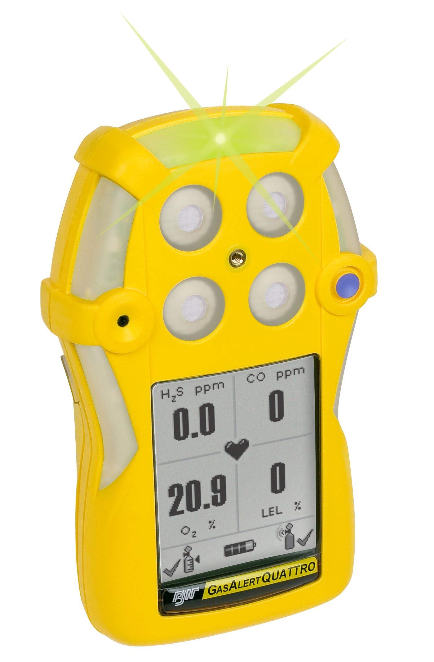 BW Technologies by Honeywell GasAlertQuattro QT-XW00-R-Y-NA 4-Gas Detector (O2,LEL,CO,H2S) by Honeywell
