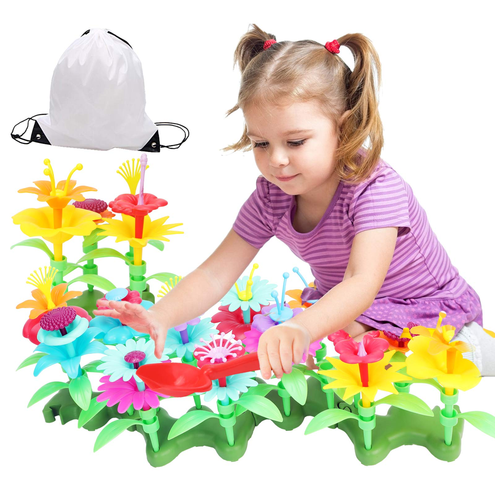 Jogotoll Flower Garden Building Toys138 PCS Gardening Pretend Set Gifts for 3-6