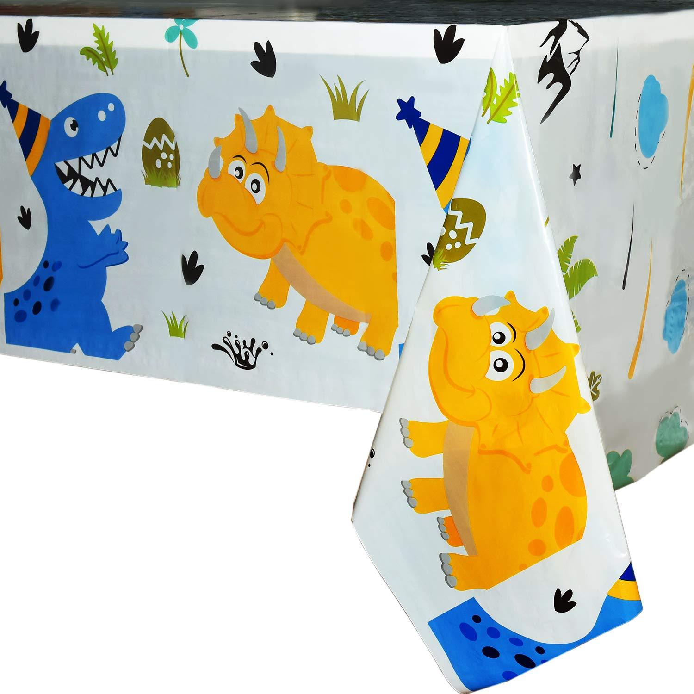 WERNNSAI Nappe Dinosaure - Fournitures de Fête de Dinosaurepour Les Enfants Garçons Anniversaire Mariage Baby Shower Décoration, 2 Pack Nappe en Plastique Imprimée Jetable, pour Table Rectangulaire