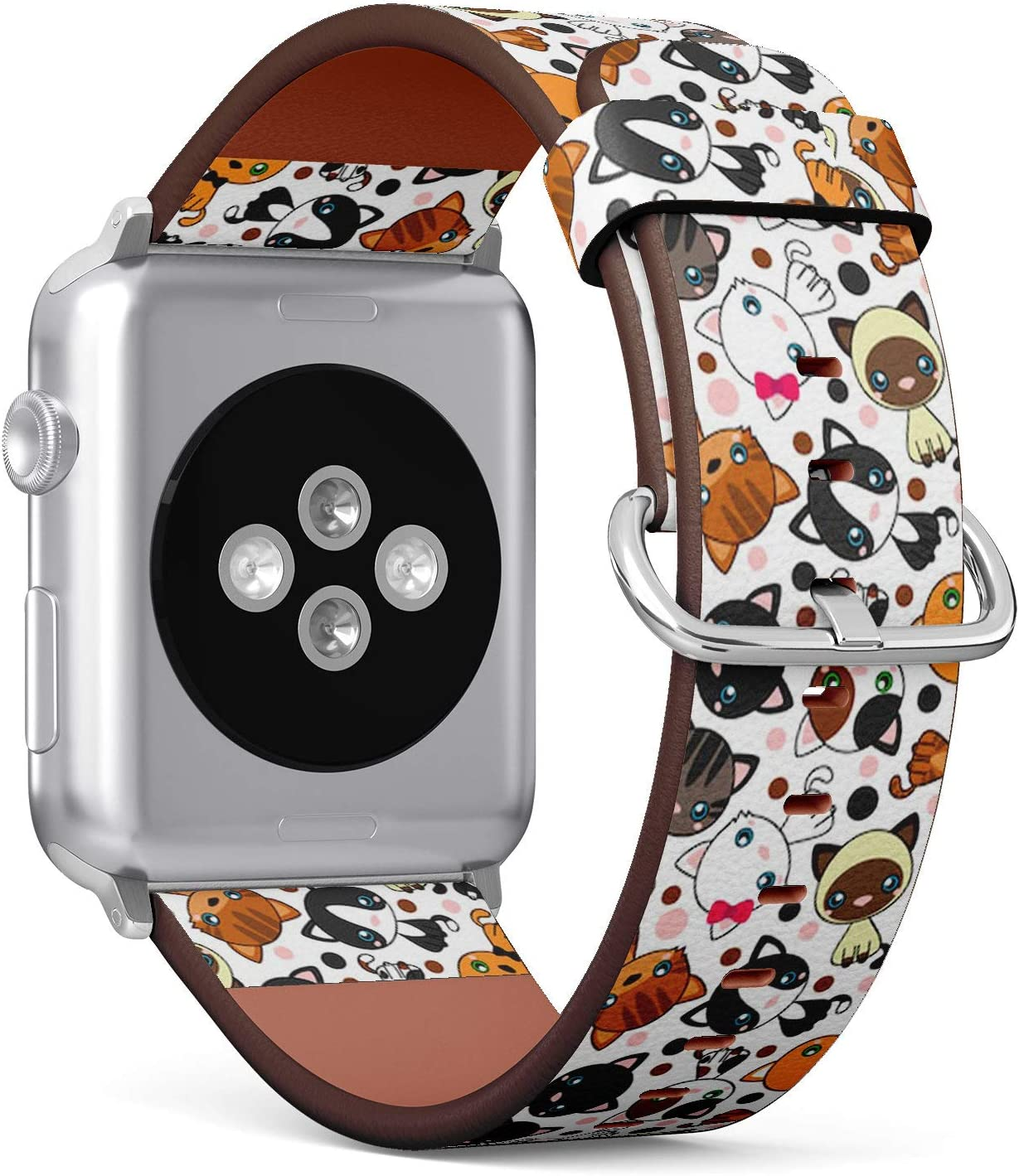 Compatible with Small Apple Watch 38mm & 40mm (All Series) Leather Watch Wrist Band Strap Bracelet with Stainless Steel Clasp and Adapters (Black Cat White)