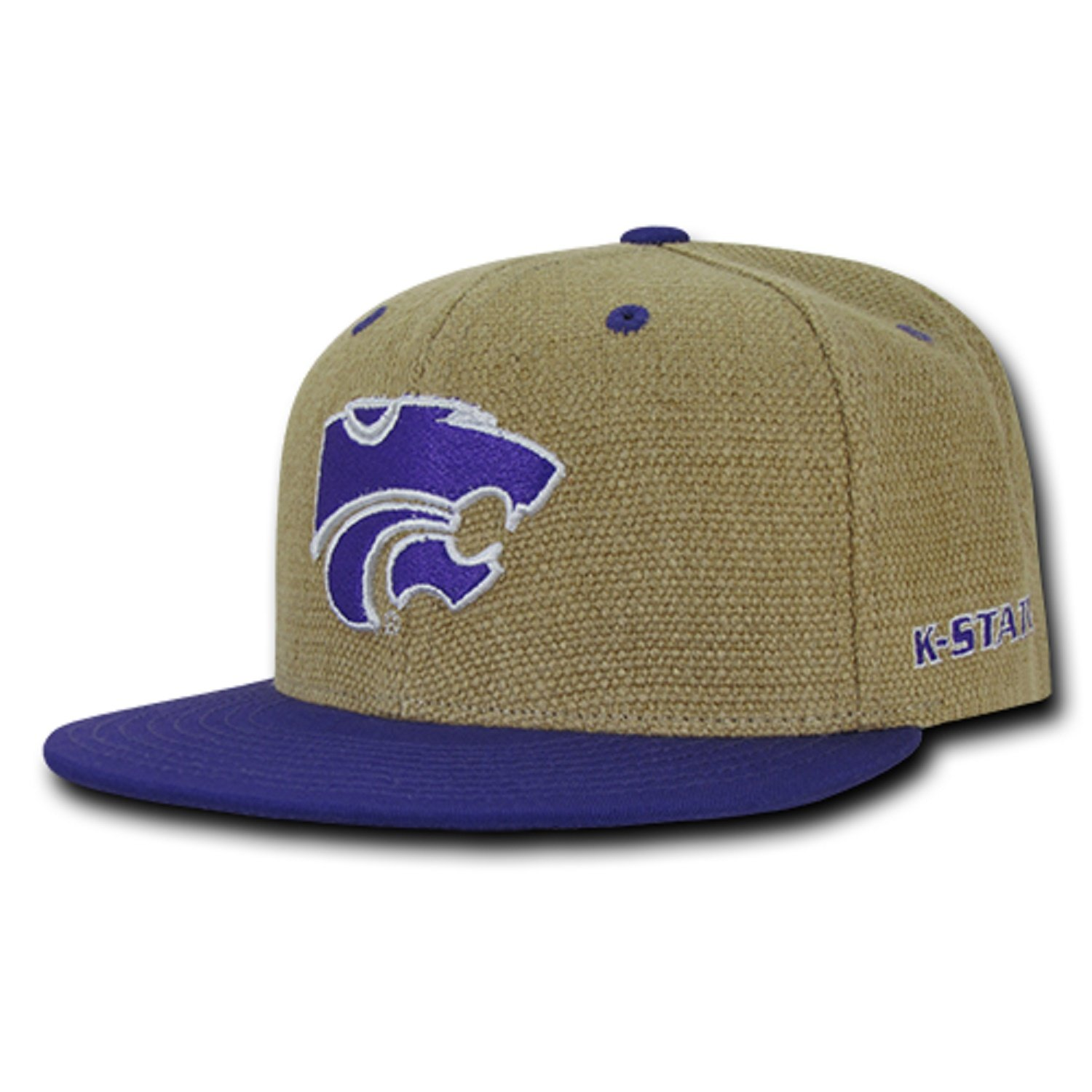 a7170be5f6a University of Kansas State K-State Wildcats Structured Flat Bill Jute Baseball  Ball Cap Hat at Amazon Men s Clothing store