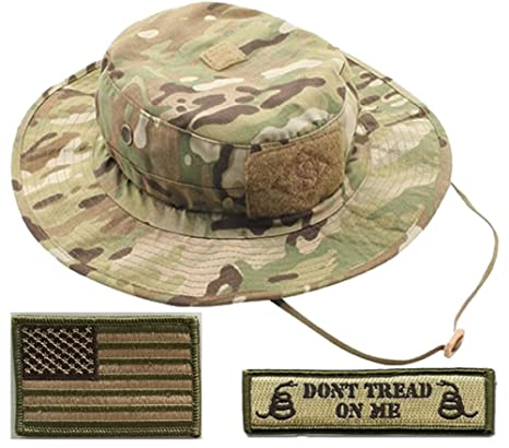 2a474fab14a Amazon.com  Gadsden and Culpeper Operator Boonie Hat Bundle   Patches -  Punisher Black  Clothing