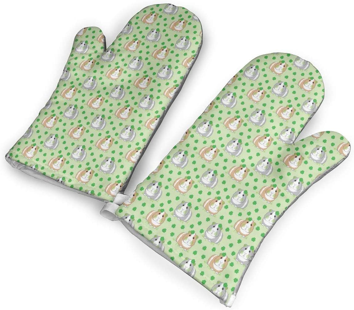 Victoria-Ai Guinea Pigs Shamrocks Oven Mitts Premium Heat Resistant Kitchen Gloves Non-Slip Easy to Use Baking Mittens for BBQ/Cooking/Grilling