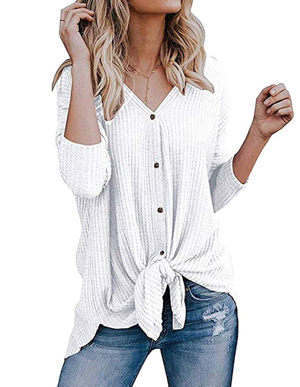 Miskely Women's Waffle Knit Tunic Tops Tie Knot Henley Tops Blouse Casual Loose Bat Wing Plain Shirts (Large, White)