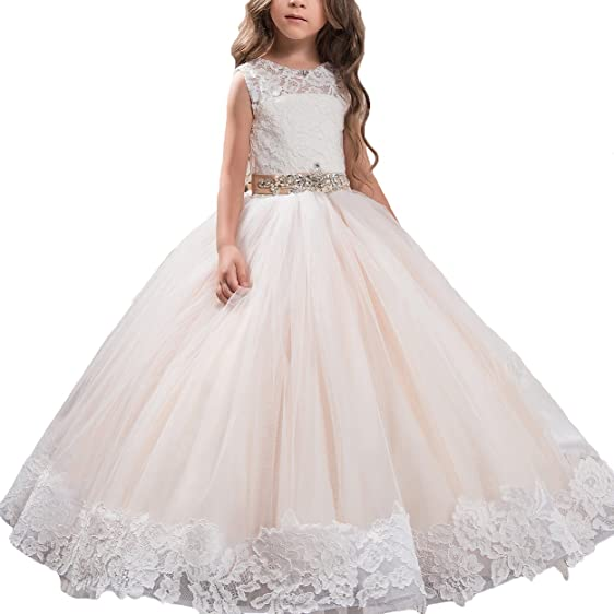Beading Beat Lace First Communion Girls Prom Gowns Size 2