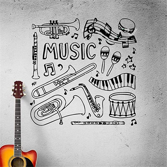 Vinly Art Decal Words Quotes Decal Musical Instruments Drum Sheet Music Flute Bedroom Home Decor For Music Room Living Room Amazon Co Uk Diy Tools